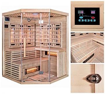 Home Deluxe – Infrarotkabine – Sahara XXL – Vollspektrumstrahler – Holz: Hemlocktanne - Maße: 150 x 150 x 200 cm – inkl. vielen Extras und komplettem Zubehör - 2