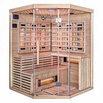 Home Deluxe – Infrarotkabine – Sahara XXL – Vollspektrumstrahler – Holz: Hemlocktanne - Maße: 150 x 150 x 200 cm – inkl. vielen Extras und komplettem Zubehör - 1