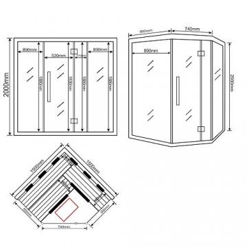 Home Deluxe – Infrarotkabine – Sahara XXL – Vollspektrumstrahler – Holz: Hemlocktanne - Maße: 150 x 150 x 200 cm – inkl. vielen Extras und komplettem Zubehör - 7