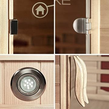 Home Deluxe – Infrarotkabine – Sahara XXL – Vollspektrumstrahler – Holz: Hemlocktanne - Maße: 150 x 150 x 200 cm – inkl. vielen Extras und komplettem Zubehör - 9