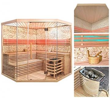 Home Deluxe - Traditionelle Sauna - Skyline XL BIG Kunststeinwand - Holz: Hemlocktanne - Maße: 200 x 200 x 210 cm   Dampfsauna Aufgusssauna Finnische Sauna - 2
