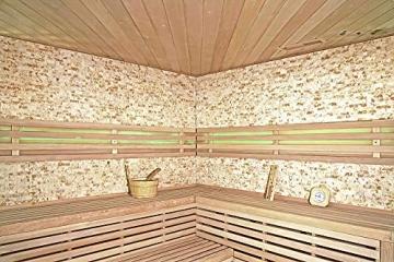 Home Deluxe - Traditionelle Sauna - Skyline XL BIG Kunststeinwand - Holz: Hemlocktanne - Maße: 200 x 200 x 210 cm   Dampfsauna Aufgusssauna Finnische Sauna - 3