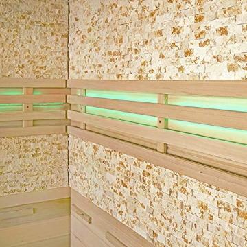 Home Deluxe - Traditionelle Sauna - Skyline XL BIG Kunststeinwand - Holz: Hemlocktanne - Maße: 200 x 200 x 210 cm   Dampfsauna Aufgusssauna Finnische Sauna - 4