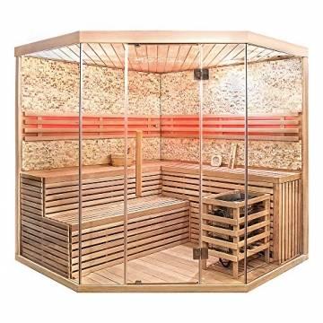 Home Deluxe - Traditionelle Sauna - Skyline XL BIG Kunststeinwand - Holz: Hemlocktanne - Maße: 200 x 200 x 210 cm   Dampfsauna Aufgusssauna Finnische Sauna - 1