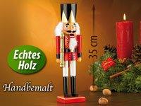 infactory Nussknacker Figur: Handbemalter Deko-Nussknacker König, im Erzgebirge-Stil, 35cm (Nussknacker Holz) - 3