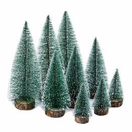 KATELUO 9Stück Mini Grün Tannenbaum,Künstlicher Weihnachtsbaum Miniatur,Mini Weihnachtsbaum Künstlicher,Weihnachtsbaum Schnee Klein mit Holzsockel,für Weihnachtsdeko/Tischdeko/DIY/Schaufenster,3Größen - 1
