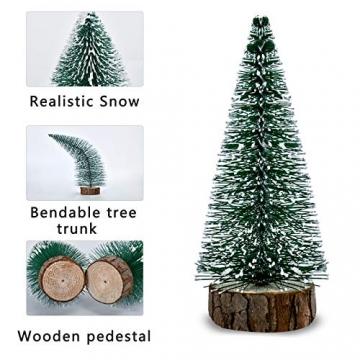 KATELUO 9Stück Mini Grün Tannenbaum,Künstlicher Weihnachtsbaum Miniatur,Mini Weihnachtsbaum Künstlicher,Weihnachtsbaum Schnee Klein mit Holzsockel,für Weihnachtsdeko/Tischdeko/DIY/Schaufenster,3Größen - 4