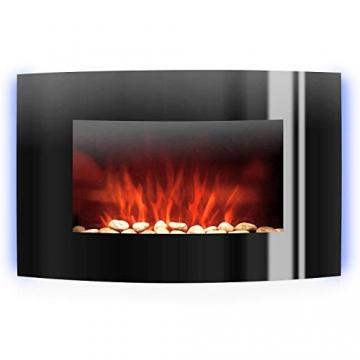 Klarstein Lausanne - elektrischer Kamin, E-Kamin, Kaminofen (Flammensimulation, LED, geräuscharm, 1000W oder 2000W Leistung, Dimm-Funktion, Fernbedienung, Wandmontage) horizontal, schwarz - 2