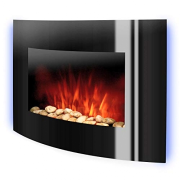 Klarstein Lausanne - elektrischer Kamin, E-Kamin, Kaminofen (Flammensimulation, LED, geräuscharm, 1000W oder 2000W Leistung, Dimm-Funktion, Fernbedienung, Wandmontage) horizontal, schwarz - 9