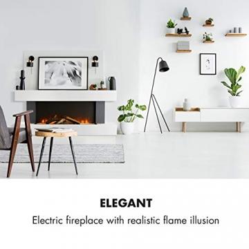 Klarstein Studio Light & Fire 1 - Kamin, LED-Flammenillusion, Heizfunktion mit 1000/2000W, Ambient Down Light, Wochen-/Abschalttimer, Gehäuse aus MDF, Thermostat, weiß - 2