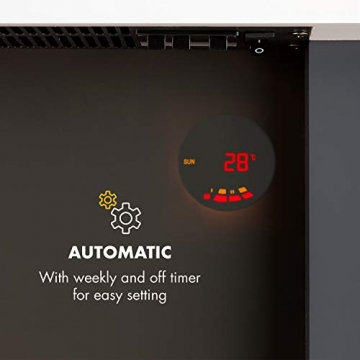 Klarstein Studio Light & Fire 1 - Kamin, LED-Flammenillusion, Heizfunktion mit 1000/2000W, Ambient Down Light, Wochen-/Abschalttimer, Gehäuse aus MDF, Thermostat, weiß - 3