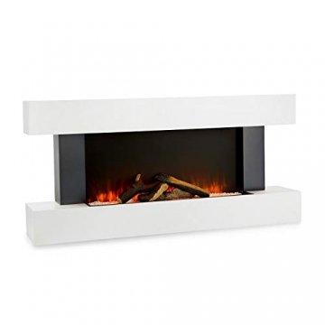 Klarstein Studio Light & Fire 1 - Kamin, LED-Flammenillusion, Heizfunktion mit 1000/2000W, Ambient Down Light, Wochen-/Abschalttimer, Gehäuse aus MDF, Thermostat, weiß - 1