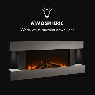 Klarstein Studio Light & Fire 1 - Kamin, LED-Flammenillusion, Heizfunktion mit 1000/2000W, Ambient Down Light, Wochen-/Abschalttimer, Gehäuse aus MDF, Thermostat, weiß - 5