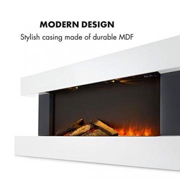 Klarstein Studio Light & Fire 1 - Kamin, LED-Flammenillusion, Heizfunktion mit 1000/2000W, Ambient Down Light, Wochen-/Abschalttimer, Gehäuse aus MDF, Thermostat, weiß - 6