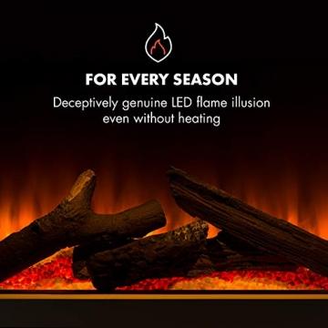 Klarstein Studio Light & Fire 1 - Kamin, LED-Flammenillusion, Heizfunktion mit 1000/2000W, Ambient Down Light, Wochen-/Abschalttimer, Gehäuse aus MDF, Thermostat, weiß - 7