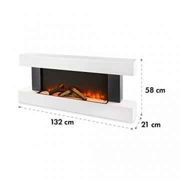 Klarstein Studio Light & Fire 1 - Kamin, LED-Flammenillusion, Heizfunktion mit 1000/2000W, Ambient Down Light, Wochen-/Abschalttimer, Gehäuse aus MDF, Thermostat, weiß - 9
