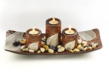 Kobolo Rechteckiger Teelichthalter Dekoschale braun mit DREI dekorativen Kerzenhaltern - 2