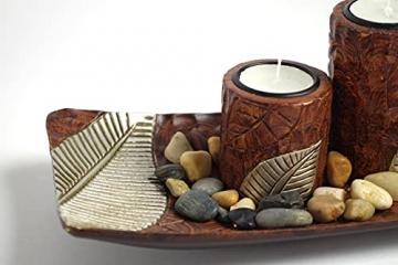 Kobolo Rechteckiger Teelichthalter Dekoschale braun mit DREI dekorativen Kerzenhaltern - 3