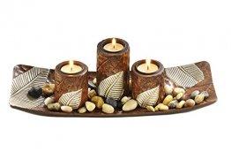 Kobolo Rechteckiger Teelichthalter Dekoschale braun mit DREI dekorativen Kerzenhaltern - 1