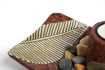 Kobolo Rechteckiger Teelichthalter Dekoschale braun mit DREI dekorativen Kerzenhaltern - 4