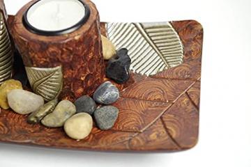 Kobolo Rechteckiger Teelichthalter Dekoschale braun mit DREI dekorativen Kerzenhaltern - 5
