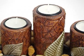 Kobolo Rechteckiger Teelichthalter Dekoschale braun mit DREI dekorativen Kerzenhaltern - 6