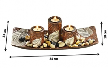 Kobolo Rechteckiger Teelichthalter Dekoschale braun mit DREI dekorativen Kerzenhaltern - 7