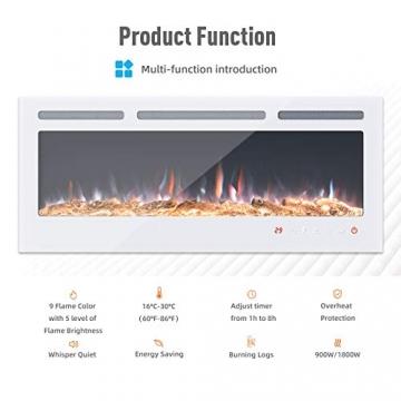 KUPPET 127 cm Elektrischer Kamin Versenkt und an der Wand Montiert mit Sicherheitsabschaltung & Digitaler LED-Anzeige, Touchscreen-Bedienbildschirm & Fernbedienung & Timer, Weißes Glas - 3
