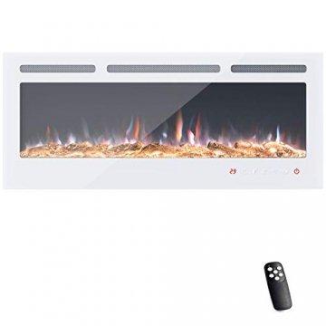 KUPPET 127 cm Elektrischer Kamin Versenkt und an der Wand Montiert mit Sicherheitsabschaltung & Digitaler LED-Anzeige, Touchscreen-Bedienbildschirm & Fernbedienung & Timer, Weißes Glas - 1