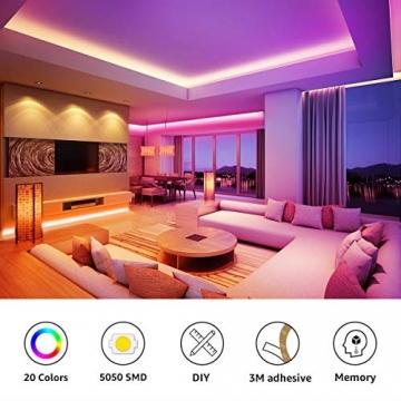 LE LED Strip Lichtband,10m (2x5m) RGB LED Streifen Band, 5050 SMD LED stripes, LED Lichterkette mit 44 Tasten Fernbedienung, verstellbare Helligkeiten RGB Farbwechsel Strip für Haus, Party, Bar, TV - 2