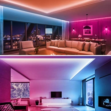 LE LED Strip Lichtband,10m (2x5m) RGB LED Streifen Band, 5050 SMD LED stripes, LED Lichterkette mit 44 Tasten Fernbedienung, verstellbare Helligkeiten RGB Farbwechsel Strip für Haus, Party, Bar, TV - 3