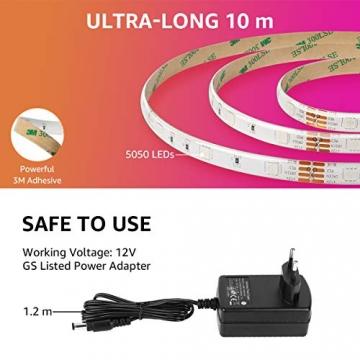 LE LED Strip Lichtband,10m (2x5m) RGB LED Streifen Band, 5050 SMD LED stripes, LED Lichterkette mit 44 Tasten Fernbedienung, verstellbare Helligkeiten RGB Farbwechsel Strip für Haus, Party, Bar, TV - 5