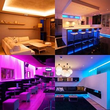 LE LED Strip Lichtband,10m (2x5m) RGB LED Streifen Band, 5050 SMD LED stripes, LED Lichterkette mit 44 Tasten Fernbedienung, verstellbare Helligkeiten RGB Farbwechsel Strip für Haus, Party, Bar, TV - 8