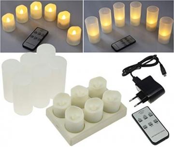 LED Deko Kerzen mit IR-Fernbedienung 6 Kerzen 99x44mm Ladestation und Netzteil 3 Modi - 2