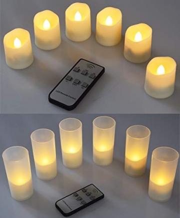 LED Deko Kerzen mit IR-Fernbedienung 6 Kerzen 99x44mm Ladestation und Netzteil 3 Modi - 3