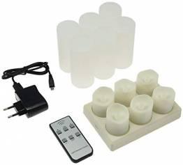 LED Deko Kerzen mit IR-Fernbedienung 6 Kerzen 99x44mm Ladestation und Netzteil 3 Modi - 1