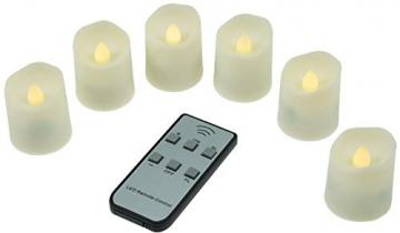 LED Deko Kerzen mit IR-Fernbedienung 6 Kerzen 99x44mm Ladestation und Netzteil 3 Modi - 4