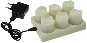 LED Deko Kerzen mit IR-Fernbedienung 6 Kerzen 99x44mm Ladestation und Netzteil 3 Modi - 5