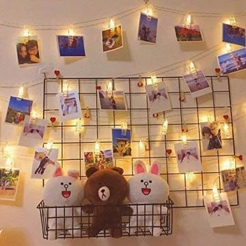 LED Fotoclips Lichterkette, mehrweg 5 Meter/Lichterketten-8 Modi 40 Foto-Clips, USB/Batteriebetrieben Stimmungsbeleuchtung,Dekoration für Wohnzimmer,Weihnachten,Hochzeiten,Party - 3