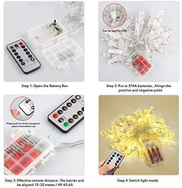 LED Fotoclips Lichterkette, mehrweg 5 Meter/Lichterketten-8 Modi 40 Foto-Clips, USB/Batteriebetrieben Stimmungsbeleuchtung,Dekoration für Wohnzimmer,Weihnachten,Hochzeiten,Party - 5