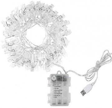 LED Fotoclips Lichterkette, mehrweg 5 Meter/Lichterketten-8 Modi 40 Foto-Clips, USB/Batteriebetrieben Stimmungsbeleuchtung,Dekoration für Wohnzimmer,Weihnachten,Hochzeiten,Party - 6