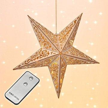 LED Holz Weihnachtsstern - Fensterdeko mit Fernbedienung - Deko Stern Hängelampe - 1