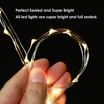 LED Lichterkette Batterie 8er 2M 20 LED Innen Micro Silber Batteriebetriebene Lichterkette für Weihnachten, Hochzeit, Party, Schlafzimmer, Tisch Dekoration (Kommen mit 8 Stück Batterien) - 3