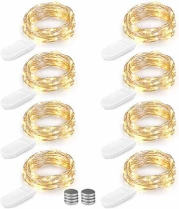 LED Lichterkette Batterie 8er 2M 20 LED Innen Micro Silber Batteriebetriebene Lichterkette für Weihnachten, Hochzeit, Party, Schlafzimmer, Tisch Dekoration (Kommen mit 8 Stück Batterien) - 1