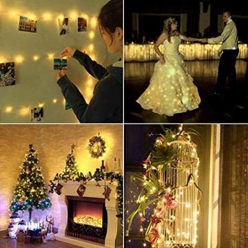 LED Lichterkette Batterie 8er 2M 20 LED Innen Micro Silber Batteriebetriebene Lichterkette für Weihnachten, Hochzeit, Party, Schlafzimmer, Tisch Dekoration (Kommen mit 8 Stück Batterien) - 6