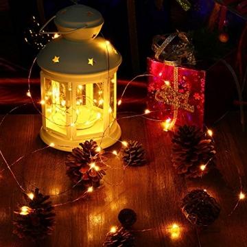 LED Lichterkette Batterie 8er 2M 20 LED Innen Micro Silber Batteriebetriebene Lichterkette für Weihnachten, Hochzeit, Party, Schlafzimmer, Tisch Dekoration (Kommen mit 8 Stück Batterien) - 7