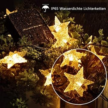 LED Lichterkette Sterne 60LED 8M/26FT Sterne Solar Lichterkette mit Fernbedienung 8 Modi Wasserdicht Außen Innen Weihnachten Lichterketten Außen für Garten, Weihnachten, Party (Warmweiß) - 2