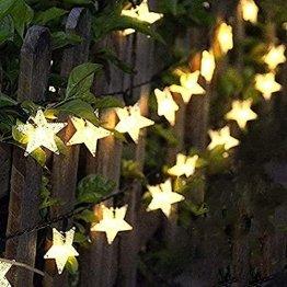 LED Lichterkette Sterne 60LED 8M/26FT Sterne Solar Lichterkette mit Fernbedienung 8 Modi Wasserdicht Außen Innen Weihnachten Lichterketten Außen für Garten, Weihnachten, Party (Warmweiß) - 1