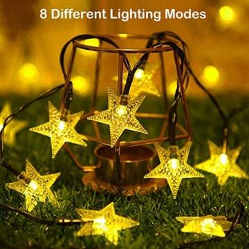 LED Lichterkette Sterne 60LED 8M/26FT Sterne Solar Lichterkette mit Fernbedienung 8 Modi Wasserdicht Außen Innen Weihnachten Lichterketten Außen für Garten, Weihnachten, Party (Warmweiß) - 4