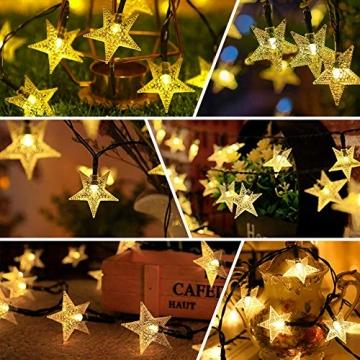 LED Lichterkette Sterne 60LED 8M/26FT Sterne Solar Lichterkette mit Fernbedienung 8 Modi Wasserdicht Außen Innen Weihnachten Lichterketten Außen für Garten, Weihnachten, Party (Warmweiß) - 5